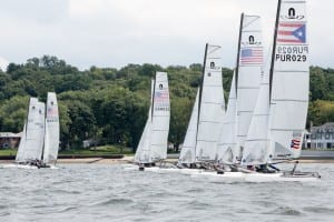 Nacra 17s on starting line during 2014 US National Championship