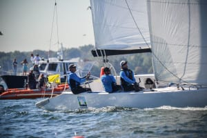 David Storrs (skipper, above) placed second in the 2015 U.S. Match Racing Championship/Ethan Johnson